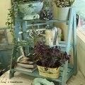 Kd afligido chic aqua azul 3 passos escada de madeira maciça do vintage prateleira