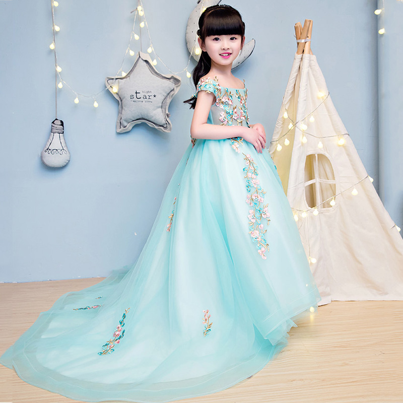 Princess Girls Mullet Dress 2017 New Shoulderless Costume For Girl Embroidery Girl's Lace Dresses Bow Gown Evening dress JF87