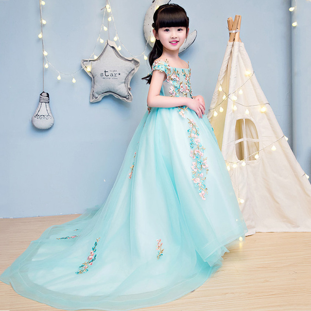 Princess Girls Mullet Dress 2017 New Shoulderless Costume For Girl ...