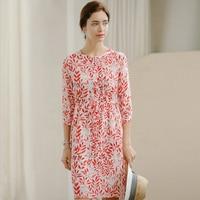 100% шелковое платье женское платье с высокой талией с круглым вырезом и рукавом три четверти 2 цвета Повседневное платье Лето Новая мода 2019