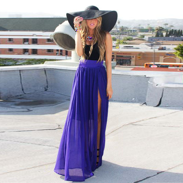 Purple Chiffon Maxi Skirt Side High Slit Long Skirt Awesome Skirts ...