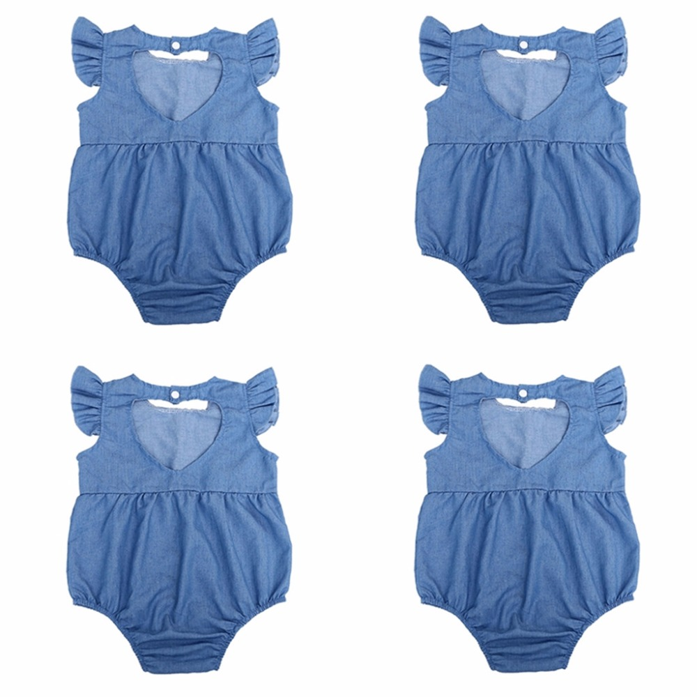 0 24M Summer Newborn Baby Girls Denim Romper Jumpsuit Outfits Sunsuit Clothes in Rompers from Mother Kids