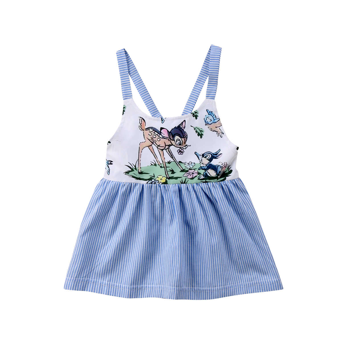 88345edf89c Newborn Toddler Kids Child Baby Girl Stripe Sling Blue Dress Party  Sleeveless Outfits Summer Dress Baby