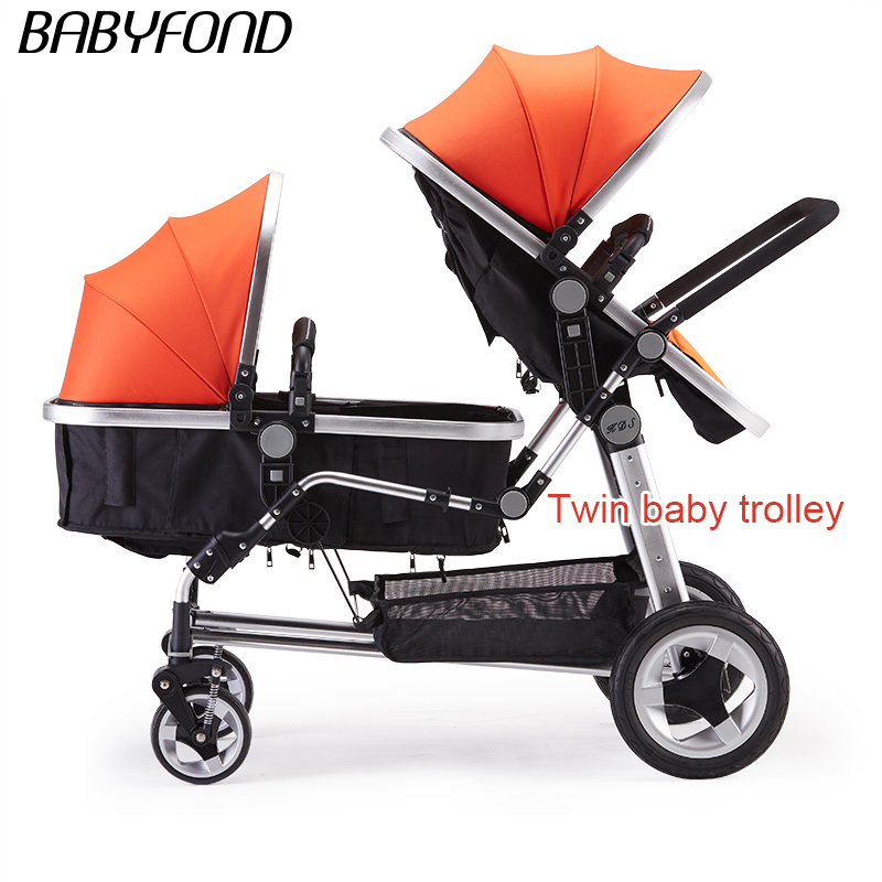 0 - twins baby stroller double front and rear