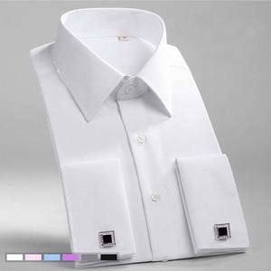 Image 1 - Классическая рубашка с французскими манжетами, однотонная саржевая Мужская рубашка для смокинга вечерние ринки и свадьбы с нагрудным карманом