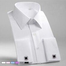 Camisa masculina formal e sólida de sarja, camisa social formal com abotoaduras e bolso no peito, para casamento, festa e casamento