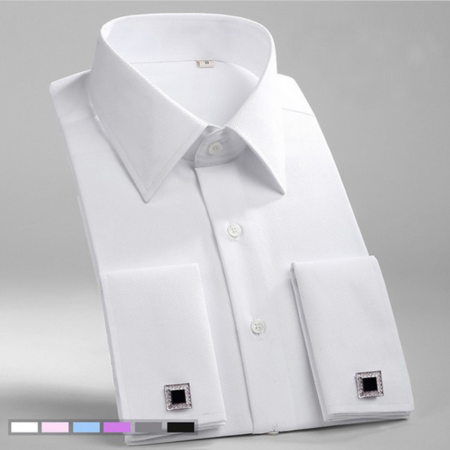 Francês Punho da Camisa de Vestido Dos Homens de Negócios Formal Sarja Sólida Festa de Casamento Dos Homens Smoking Camisas com Abotoaduras Bolso No Peito