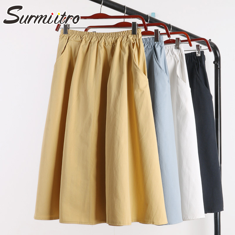 Surmiitro 100% Cotton Midi Summer Skirt Women 2019 Fashion Korean Pocket A-line Sun School Black White High Waist Skirt Female