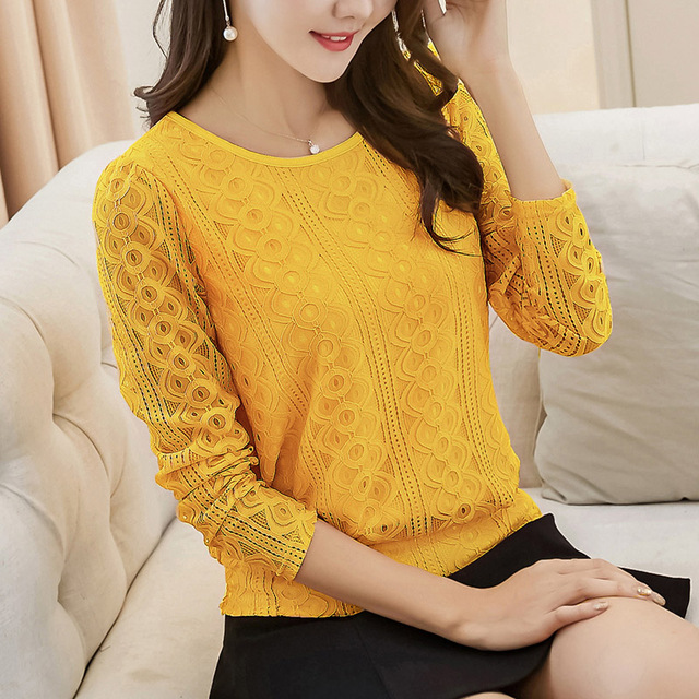 f682fd8babe 3XL Plus Size Lace Blouse 2017 New Spring Autumn Women Black Yellow Red Top  Shirt Fashion Long Sleeve Ladies Office Lace Tops