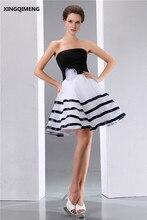 Vintage Barato Simple Blanco y Negro Vestidos de Coctel Elegante Vestido de Cóctel Corto Sin Tirantes de Vestidos Formales Del Partido Del Vestido