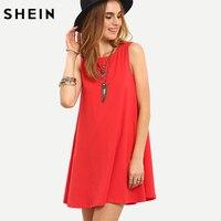SHEIN Tie V Back Tank Swing Dress