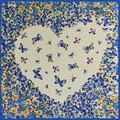 60 cm * 60 cm Bufanda Cuadrada de Seda Del Corazón Diseño de La Mariposa Impreso Señoras hijab pañuelo Bufandas de la Marca Mujeres de alta calidad mujer