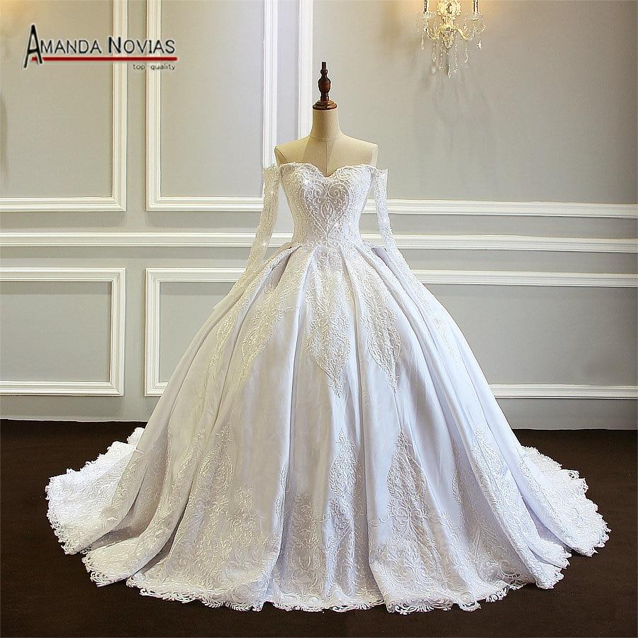 Amanda Novias New long Sleeve Ball Gown Wedding Dress 2019