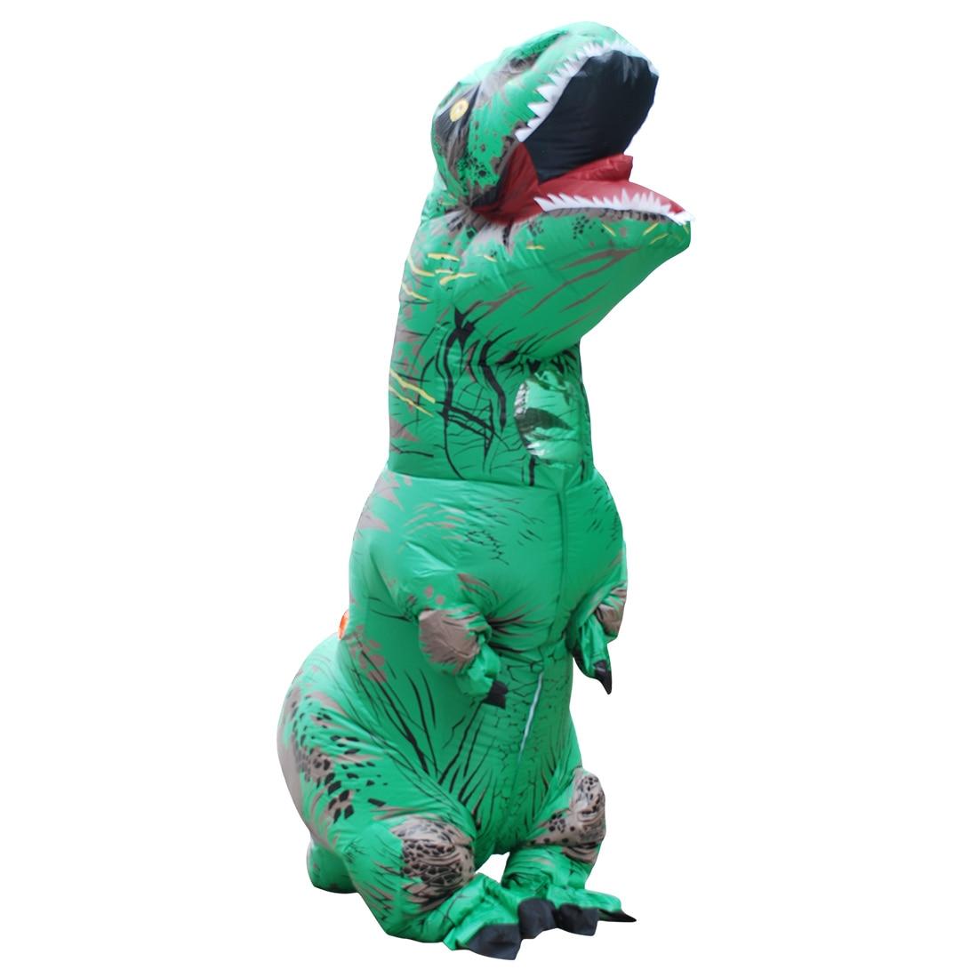 venta al por menor disfraz adulto verde dinosaurio inflable disfraz disfraz de halloween para hombres