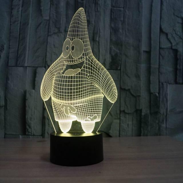 Patricio estrella efecto 3D Nightlight con 7 colores como día de día del niño del regalo