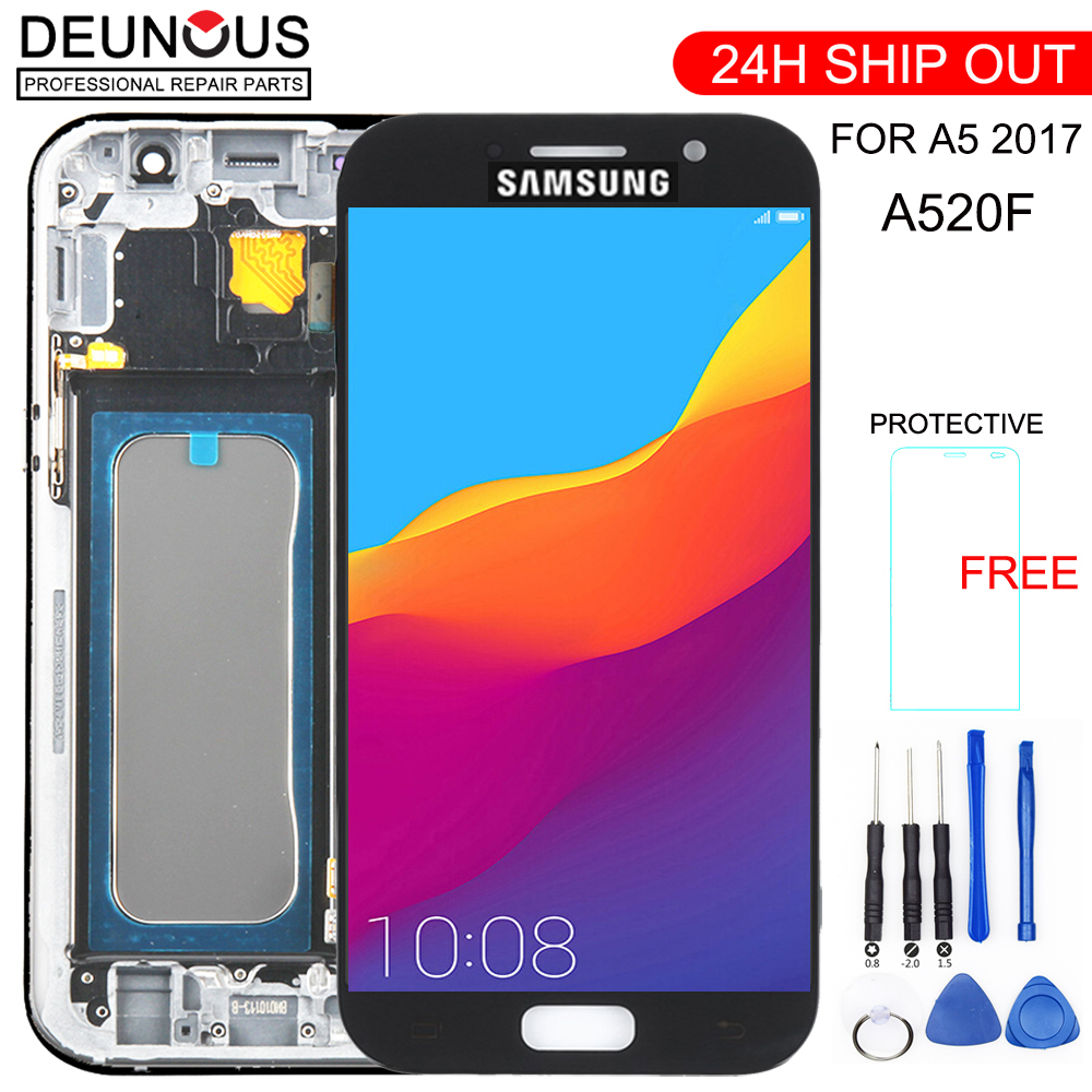 TFT For <font><b>SAMSUNG</b></font> GALAXY A5 2017 <font><b>A520F</b></font> LCD Touch Digitizer Sensor Glass Assembly Frame For <font><b>SAMSUNG</b></font> A520 <font><b>Display</b></font> Screen SM-<font><b>A520F</b></font> image