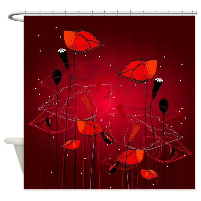 Red Poppies Shower Curtain Decorative Fabric Set House Doormats For Living Room Anti