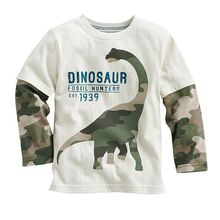 kids youngsters boys Cartoon dinosaur boys lengthy sleeve t shirt for 18M-6Years outdated tops tees t shirt retails 1pcs