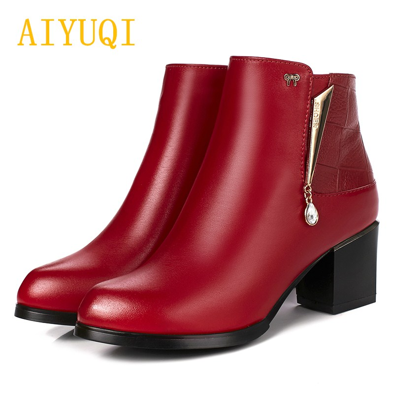 AIYUQI 2019 winter new women s genuine leather snow boots high heeled trend bare boots women
