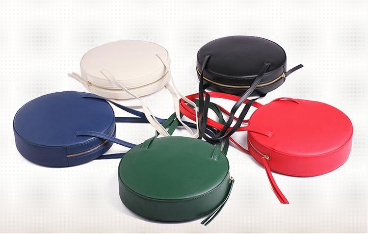 New women s round bags leather circle box font b handbags b font messenger bag for