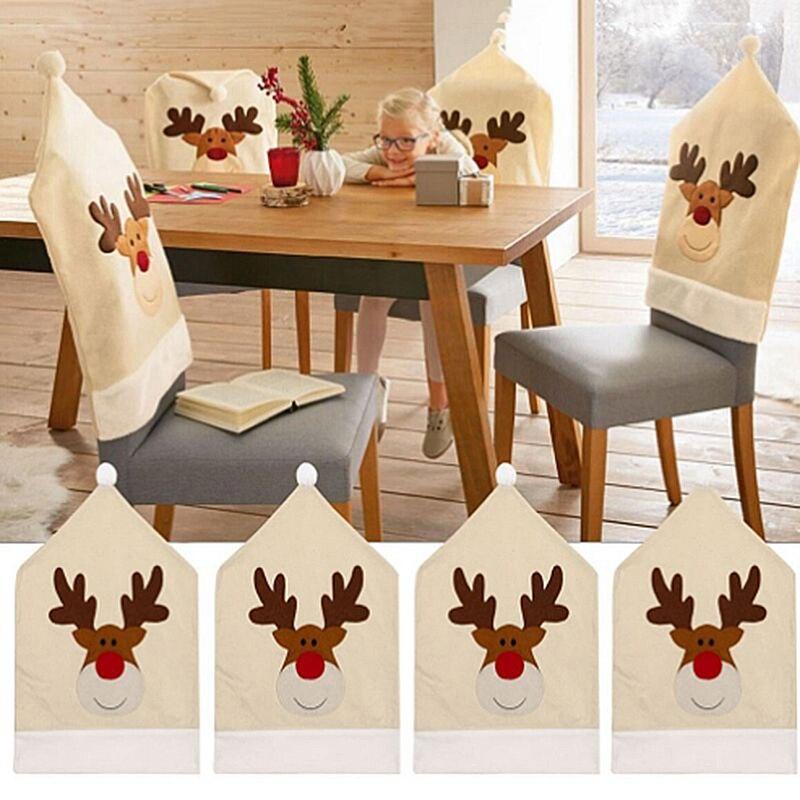 Mode noël dîner Table fête rouge chapeau chaise dos couvre cerf chapeau chaise couverture Elk casquette chaise couverture de noël décoration offre spéciale
