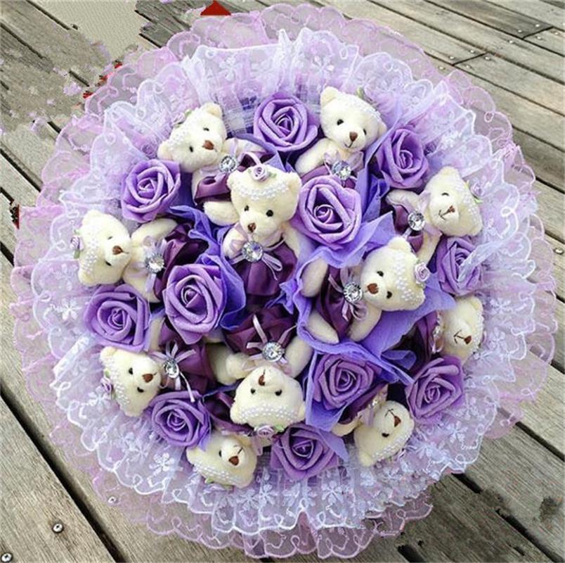 Mode Creative Fleur de Bande Dessinée Bouquet Peluche Animal En Peluche Jouet avec Simulation Roses du Jour de Valentine/Anniversaire/cadeau De Mariage