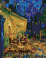세공 유화 Diy 디지털 그림 캔버스 40*50 커피 하우스 반 고흐 그림 벽 장식 사진