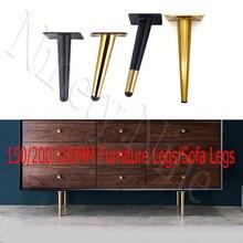 4 sztuk/zestaw 15/20/25/30CM szafka nogi metalowe okrągły stożkowy nogi DIY meble Sofa stolik przy łóżku szafka na buty nogi na biurku