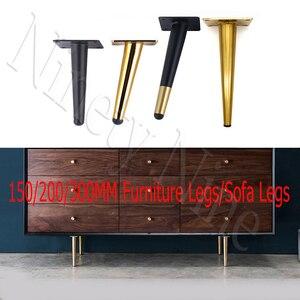 Image 1 - 4 sztuk/zestaw 15/20/25/30CM szafka nogi metalowe okrągły stożkowy nogi DIY meble Sofa stolik przy łóżku szafka na buty nogi na biurku