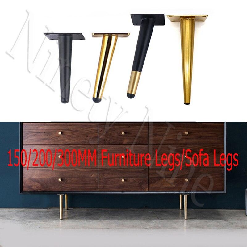 4Pcs/Set 15/20/25/30CM Furniture Cabinet Metal Legs Round Tapered Leg DIY Furnitur Sofa Table Bed Shoe Cabinet Desk Legs