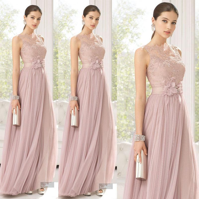 Bridesmaids Dresses Blush Color Tulle Lace Hand Made Flowers Long Maid Of Honor Dresses Floor Length Sheer Bridesmaid For Girls