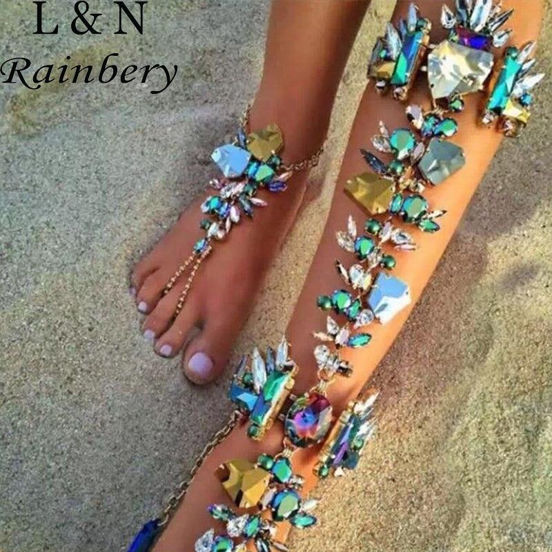 Rainbery 2017 Australia Beach Vacation Ankle Bracelet Sandals Sexy Leg  Chain Female Boho Crystal Anklet Statement f7dd691bfc74
