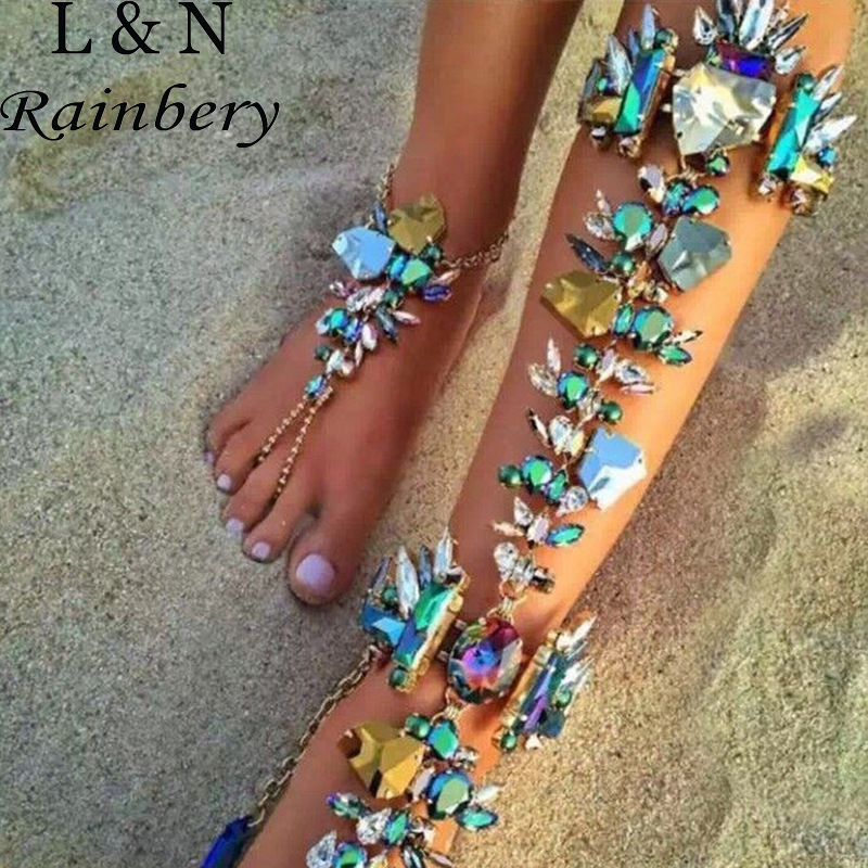 Rainbery 2017 Australia Beach Vacation Ankle Bracelet Sandals Sexy Leg Chain Female Boho Crystal Anklet Statement Jewelry