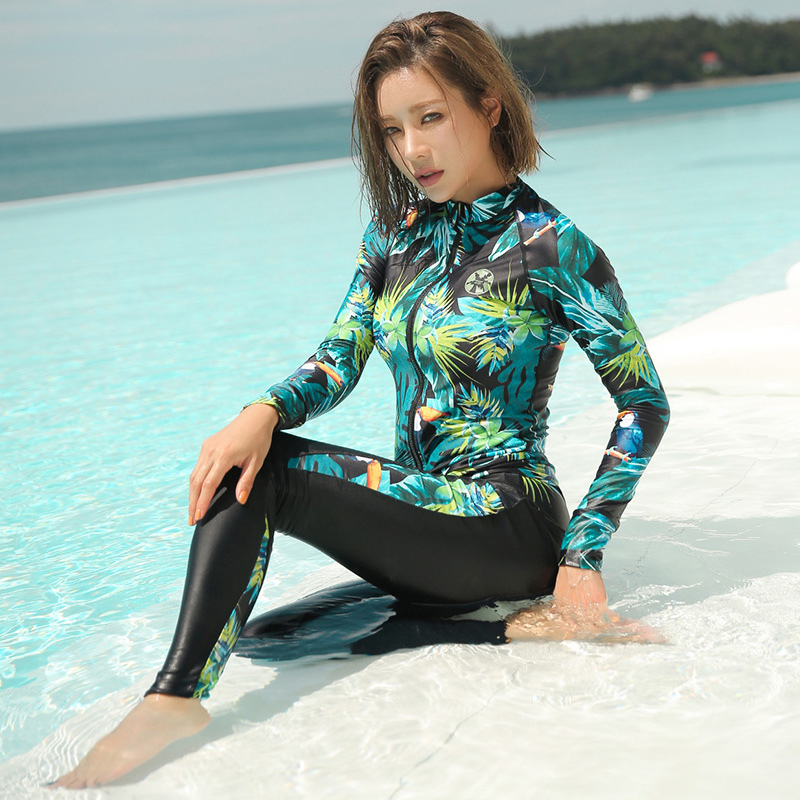 Rhyme Lady women five pieces swimsuits female zipper long sleeve Rashguard high quality swimwear summer sun