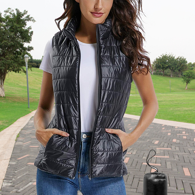 18a16c1a3dcf8 Womens Packable Lightweight Warm Zip up Stand Collar Quilted Gilets Padded  Puff Vest Outwear with 2 Zip up Pocket Drop Shipping