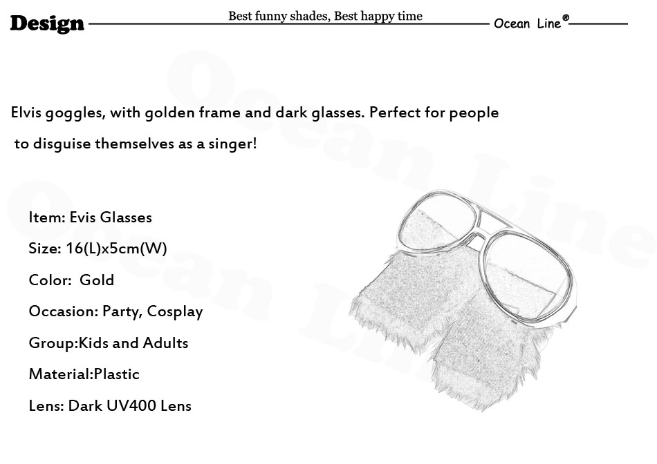 05f8097cc75 Funny Elvis Goggles Costume Glasses with Sideburns Rock and Roll ...