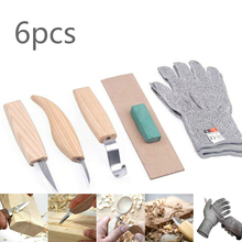 Mayitr 5pc Wood Carving Cutter Set DIY Chisel Chip Knives Woodworking Hand Tools Spoon Knife Woodcut Anti-cutting Gloves