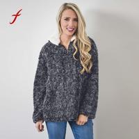 Feitong Women Zipper Warm Pullover Pile Stadium Sweatshirts Fleece Plush Tops Fll Winter Spring Female Girls