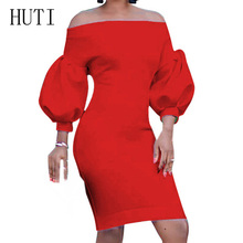 HUTI Sexy Bodycon Casual Party Dresses Autumn Off Shoulder Puff Sleeve Dress Women Elegant Holiday Evening Party Dress Vestidos цены