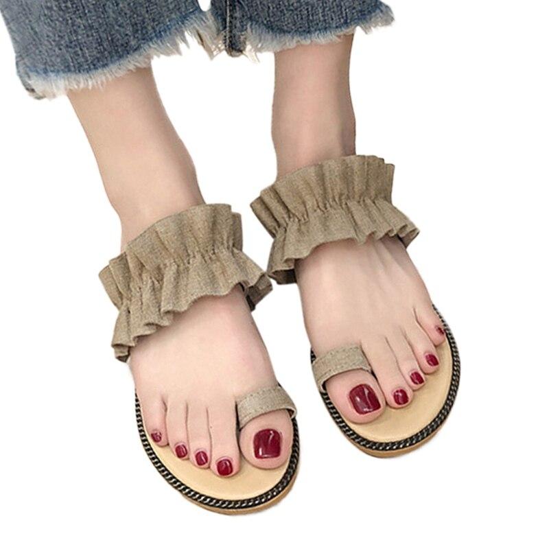 2019 Hot Top Mädchen Hausschuhe Mode Sommer Frauen Strand Römischen Sandalen Flache Weibliche Hausschuhe Flip-flops Einfache Damen Schuhe Ruf Zuerst