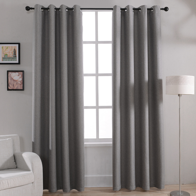 Modern Solid Blackout Curtains For Bed Room Living Window Curtain Drapes Shades Treatments Gray