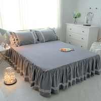 Home textile bed skirt set 180*200cm bed sheet set queen king Korean style lace gray mattress cover pillowcase solid bedding