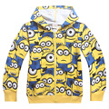 New Minions Girls Boys Coat Cartoon cotton hooded jacket For Boys Costume Brand Kids Clothing 4-12Y Spring Children clothing