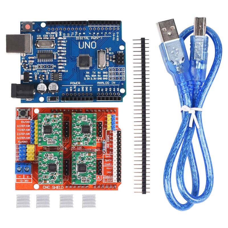 CNC Shield Expansion Board V3.0 + UNO R3 Board + USB +4PCS A4988/DRV8825 Stepper Motor Driver With Heatsink For 3D Printer Parts 4x a4988 stepper motor driver with heat sink cnc shield expansion board for arduino uno r3 v3 engraver 3d printer