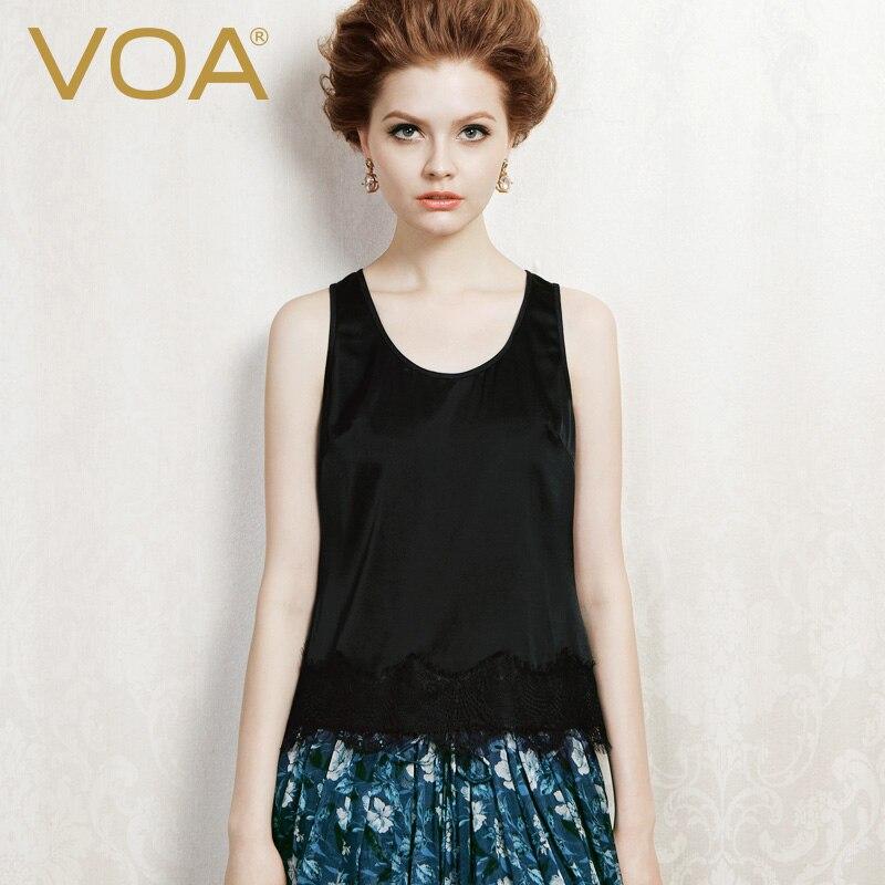 VOA all-match solide soie haut à licou couture dentelle col soie Sexy Slim gilet femme B1013