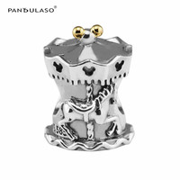 Pandulaso Horse Carousel Cartoon Charms For Women Jewelry Making Fit Fashion DIY Bracelets Real Golden Charms Silver 925 Jewelry