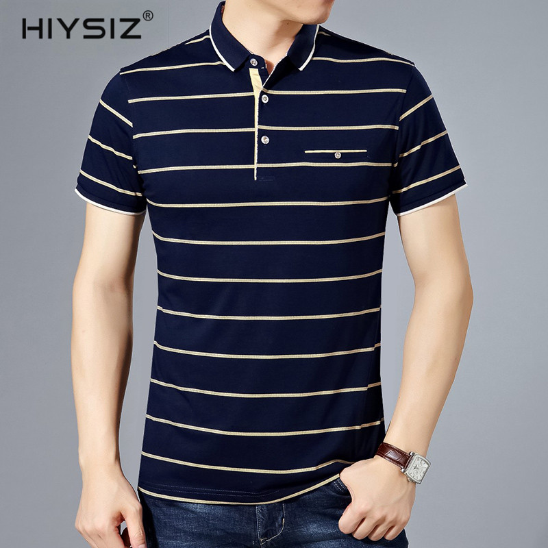 HIYSIZ NEW T Shirt Men Casual Streetwear Striped New Fashion Trend Turn down Collar With Pocket T Shirts Male For Summer ST211-in T-Shirts from Men's Clothing on AliExpress - 11.11_Double 11_Singles' Day 1