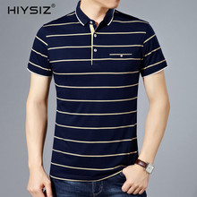 HIYSIZ NEW T-Shirt Men Casual Streetwear Striped New Fashion Trend Turn-down Collar With Pocket T Shirts Male For Summer ST211