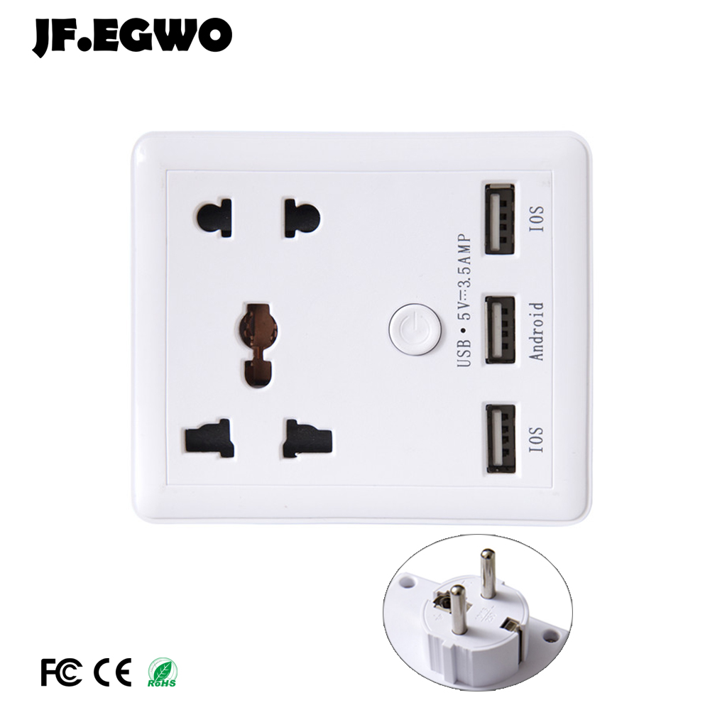 jf egwo smart usb wall socket universal outlet travel adapter power socket european plug wall. Black Bedroom Furniture Sets. Home Design Ideas