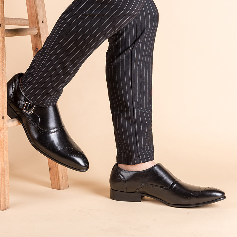 Merkmak Men Dress Shoes Vintage Brogue Oxford Shoes Fashion Genuine